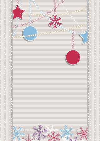 Christmas illustration with beige stripes covered by white dots as a snowflakes. Christmas poster with color snowflakes and christmas decorations.