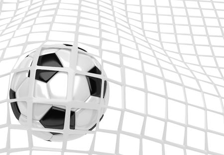 soccer net: Soccer ball in white net. Goal action as a symbol of competition and scoring. 3D illustration