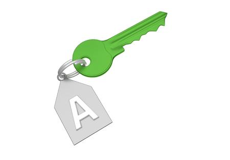 Green key and silver trinket with silver ring for locking lock and keep your private in safe. Trinket tag with energetic value of house. 3D illustration Stock Photo