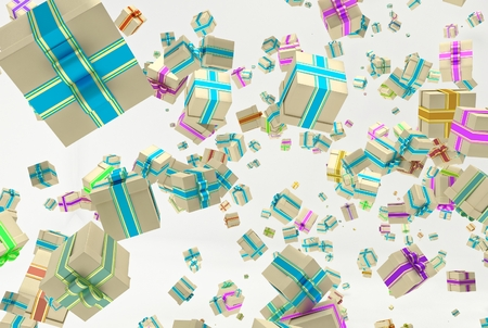 Background with falling christmas or any celebrations presents. Illustration of gifts with ribbon and bow and different dimension. 3D Rendering