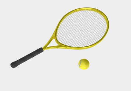 Yellow tennis racket and yellow ball. Sport item for leisure activity. 3D illustration Stock Photo