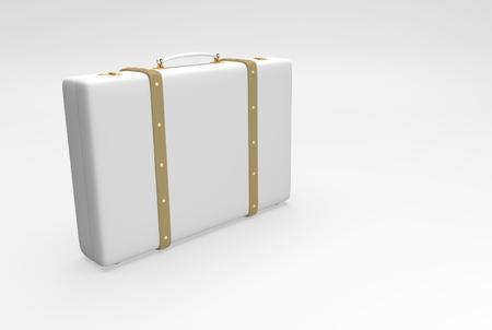 straps: White suitcase with straps suitable for traveling and with personal belongings. 3D illustration