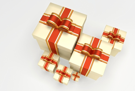 endow: Christmas or any celebrations presents with ribbon and bow. Illustration of gifts with different dimension. 3D Rendering