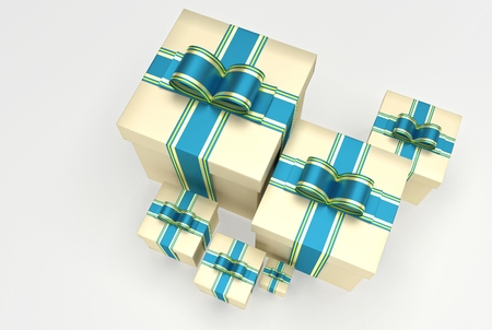 Christmas or any celebrations presents with ribbon and bow. Illustration of gifts with different dimension. 3D Rendering