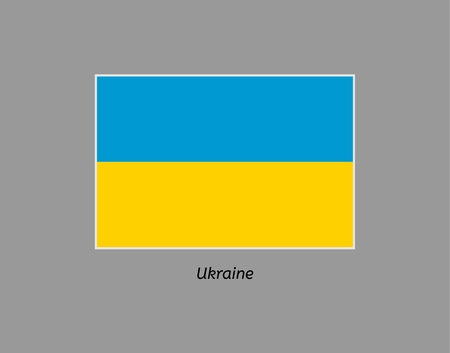 Ukraine flag. Illustration of the flag on gray backgound. Illustration contains text: ukraine