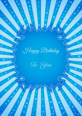 shinning: Decorative birthday label in retro star style on striped background. Poster with wishing text: Happy Birthday To You