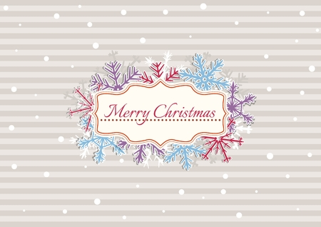 Christmas illustration with beige stripes covered by white dots as a snowflakes. Illustration contains text: MERRY CHRISTMAS. Christmas poster with color snowflakes.