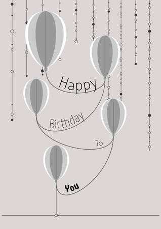 Decorative birthday card. Poster with connected abstract folded paper balloons and wishing text: HAPPY BIRTHDAY TO YOU.
