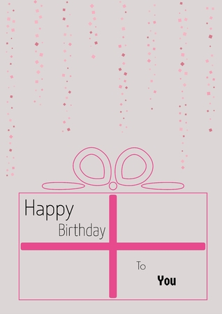 Linear present with squared falling confetti. Flat style illustration with text: Happy Birthday To You. Illustration