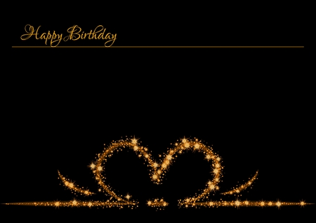 Elegant birthday poster with glittering gold stars on dark  Shinning stars create shape like the top of the present with ribbon. Poster with anniversary text: HAPPY BIRTHDAY Illustration