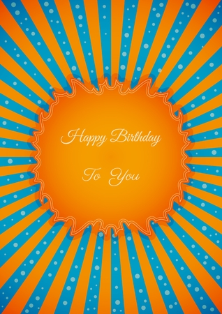 wishing card: Decorative birthday label in retro star style on striped  Poster with wishing text: Happy Birthday To You Illustration