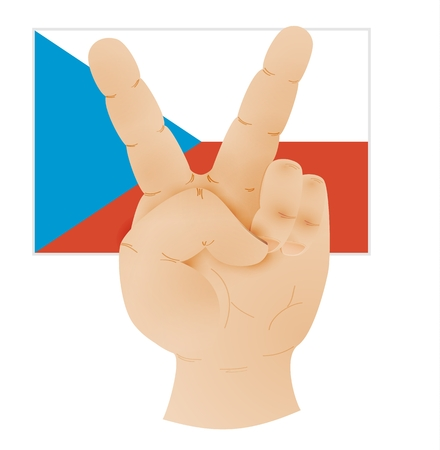 concep: Human hand showing peace sign and Czech republic flag. Illustration of caucasian human hand with two raised fingers to V sign as a symbol of victory or peace isolated on white background.