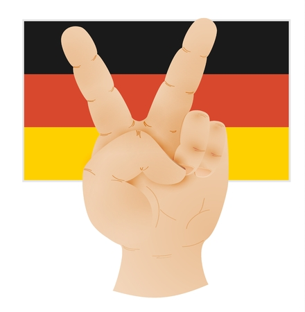 Human hand showing peace sign and Germany flag. Illustration of caucasian human hand with two raised fingers to V sign as a symbol of victory or peace isolated on white background.