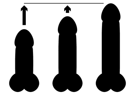 Black silhouette of three different sizes penises and arrow as a sign of enlargement. Man reproductive organ as flat simple black illustration isolated on white background.
