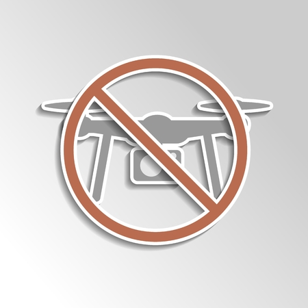 restriction: No drone icon as a symbol a ban on drones on gray gradient backgorund. Illustration of restriction for drone (unmanned aerial vehicle) for aerial photography.