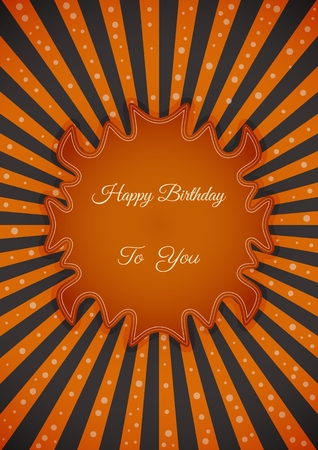 Decorative birthday label in retro star style on striped background. Poster with wishing text: Happy Birthday To You