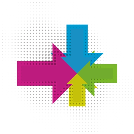 Color arrows aiming to one center with dots. Illustration