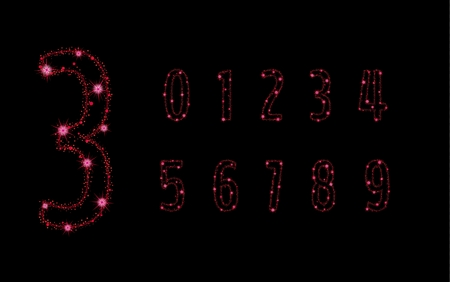 Glittering numbers with red stars and trail of sparkling particles.