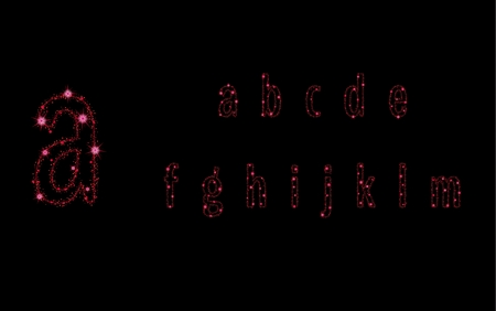 Alphabet letters from glittering red stars and trail of sparkling particles. Illustration with glitter wave and shining red stars and red glittering and sparkling dust.