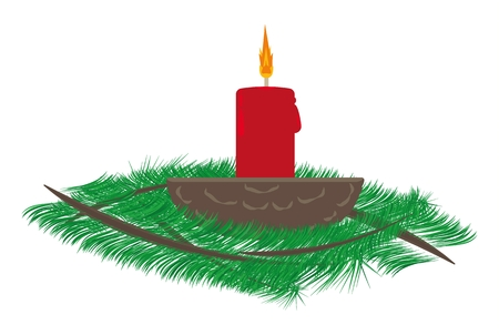 Red christmas candle in walnut shell and Christmas tree branches.