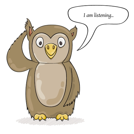 Cute owl listening your feedback. Cartoon illustration.