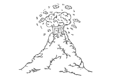 Volcano with sighs of activity. Sketch illustration. Illustration