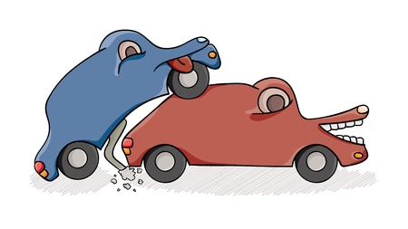 Accident of two cars on street. Cartoon illustration.