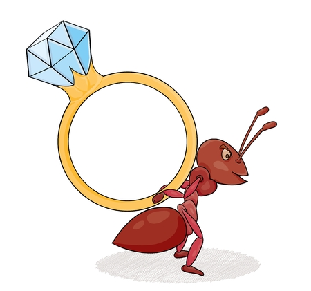 Red ant with big diamond ring on his back. Illustration