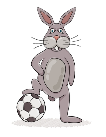 Rabbit with his leg on the ball ready to play. Cartoon illustration.
