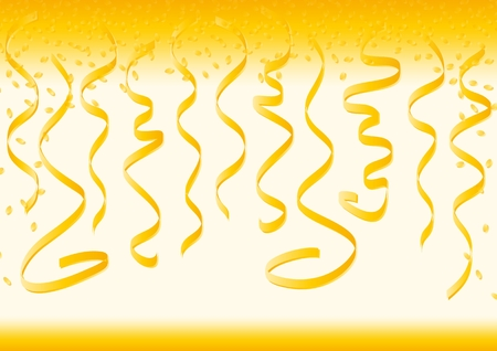 rejoicing: Gold curly ribbons and bright confetti isolated on yellow background.