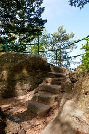 The sandstone rocks near village Mala Skala in protected area Bohemian Paradise (Cesky Raj), Liberec Region, Czech Republic, Central Europe Imagens