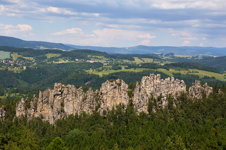 View of Suche skaly from Mala skala in protected area Bohemian Paradise (Cesky Raj). Liberec Region, Czech Republic, Central Europe