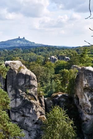 View of the landscape with sandstone rocks and ruin castle Trosky near Hruba Skala renaissance castle in protected area Bohemian Paradise (Cesky Raj), Liberec Region, Czech Republic, Europe Stock Photo