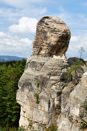 View of the landscape with sandstone rocks near Hruba Skala renaissance castle in protected area Bohemian Paradise (Cesky Raj), Liberec Region, Czech Republic, Europe