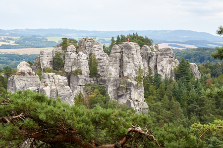 View of the landscape with sandstone rocks near ruin of the Valdstejn gothic castle in protected area Bohemian Paradise (Cesky Raj), Liberec Region, Czech Republic, Europe 版權商用圖片