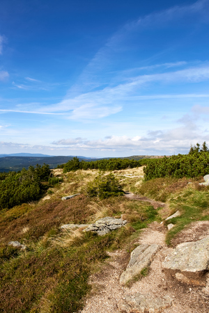 View from mountains in National Park Krkonose near Rokytnice nad Jizerou. Park lies in the northeast of Bohemia in the Hradec Kralove and Liberec regions. Czech Republic. Central Europe. 版權商用圖片