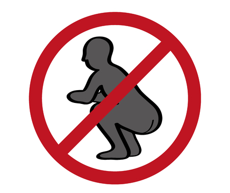 No pooping sign on white background. Vector illustration of forbidden pooping action on public.