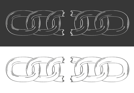 Sketch of the broken steel chain with broken one part. Illustration of the disruption strong steel. Illustration