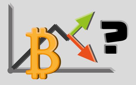 Financial concept illistration. Up or down bitcoin graph. Ilustração