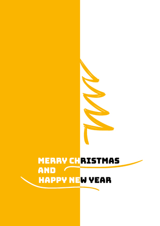 Minimal design for christmas poster with text Merry Christmas and Happy New Year.