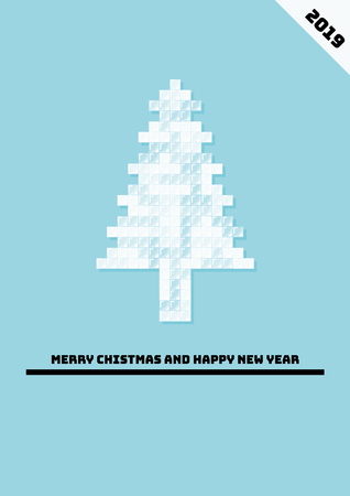 Minimal design for christmas poster with christmas ornament from icy cubes. Illustration contains text Merry Christmas and Happy New Year. Ilustração