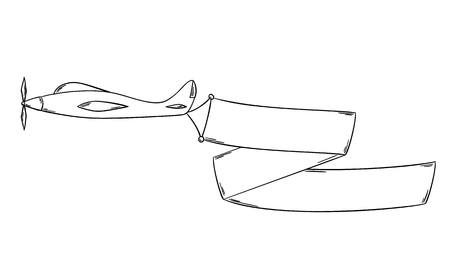 Sketch of the plane with blank advertising flag or banner isolated on white background.