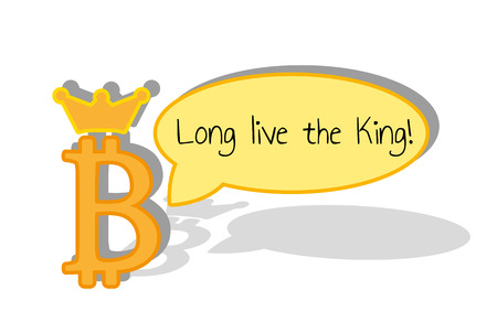 Bitcoin concept. Long live the king speech bubble and kingdom crown.