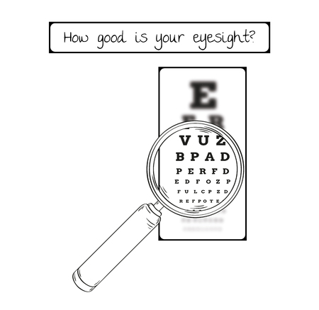 Snellen chart for eye test. Sharp and blurred chart with letters and magnifying glass. Medical tool. Contains text: How good is your eyesight.