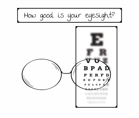 Snellen chart for eye test. Sharp and blurred chart with letters and glasses. Medical tool. Contains text: How good is your eyesight.