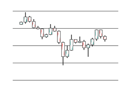 Preview of candlestick chart in financial market. Chart for stock market trading.