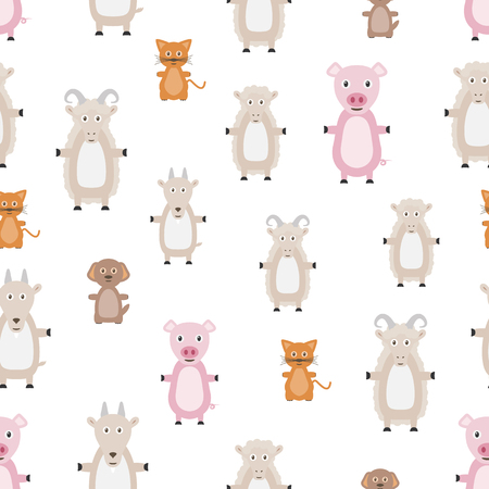 Animals seamless pattern. Repeating background with animals. Flat style. 版權商用圖片 - 123636564