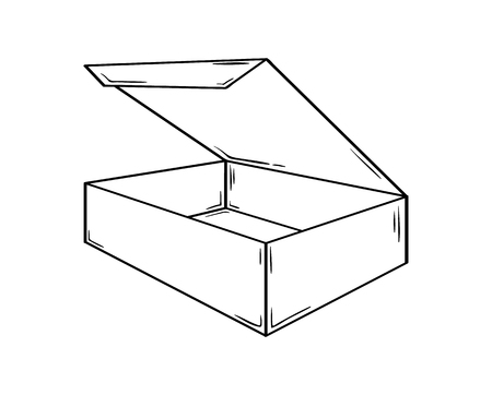 Small open box. Sketch of the paper or cardboard package.