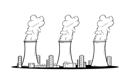 Power factory and three chimneys with smoke. Toxic smoke and pollution of nature.