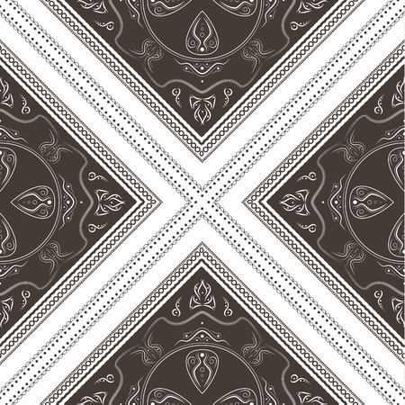 Ornamental seamless pattern - brown squares with linear ornaments.